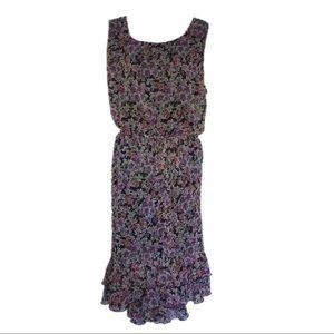 Lane Bryant Ruffled Hem Floral Chiffon Dress 22